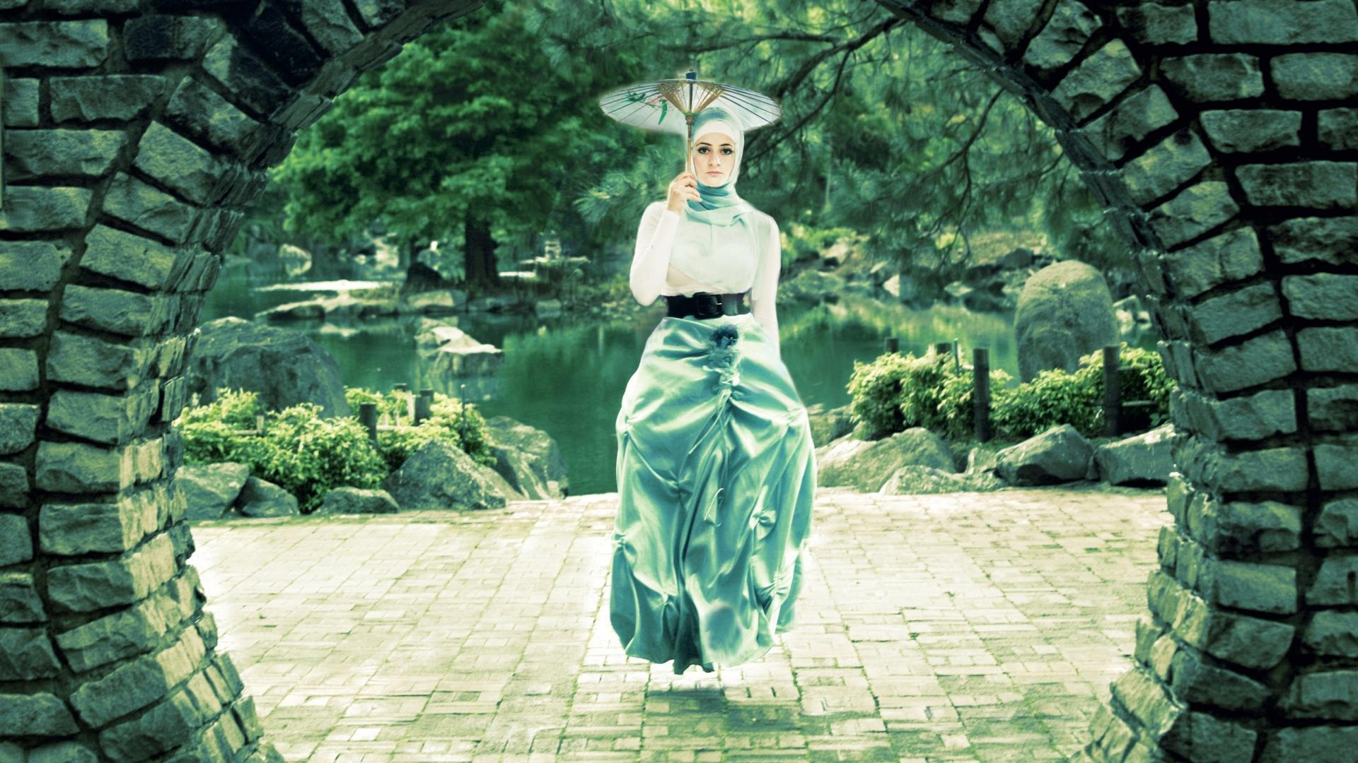 Una mujer flotando - 1920x1080