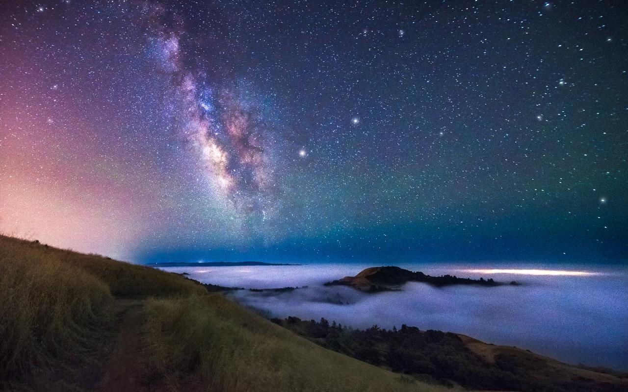 Estrellas y Galaxias de noche - 1280x800