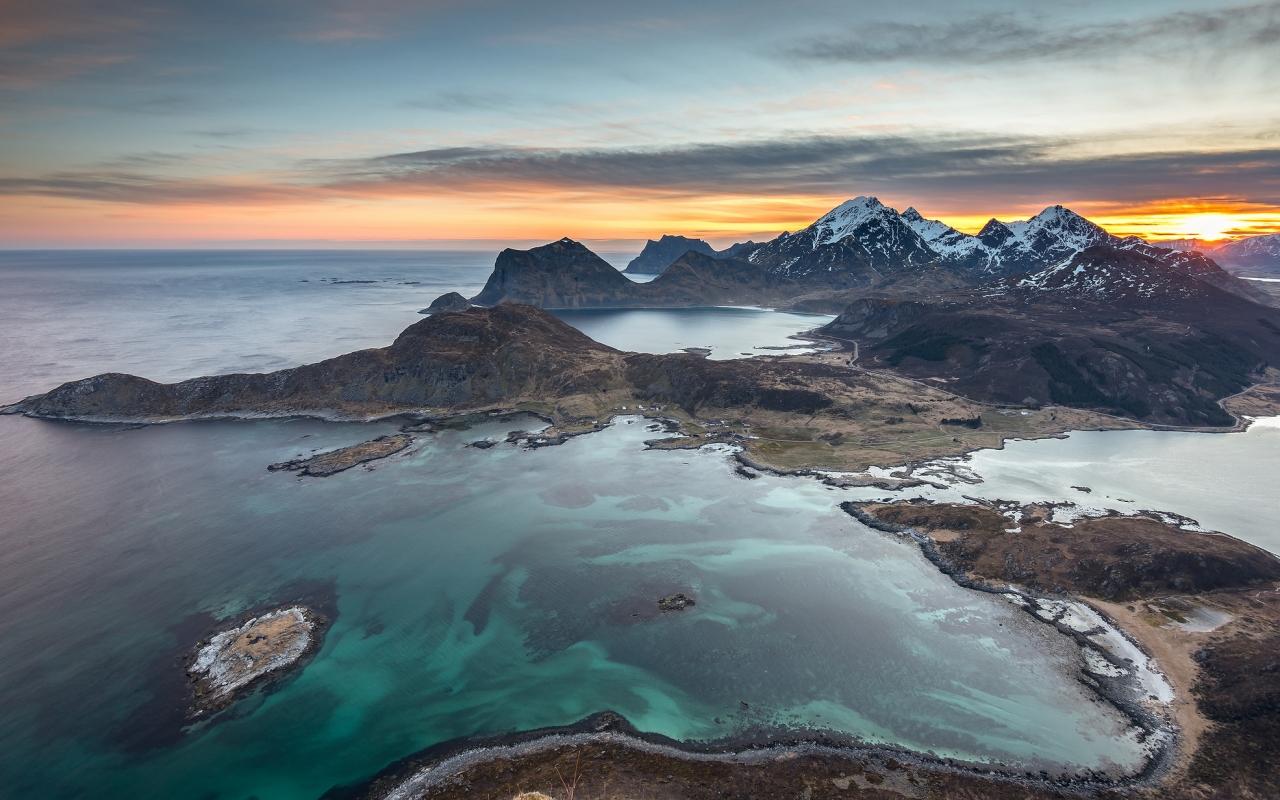 Fotografías aéreas de playas y montañas - 1280x800