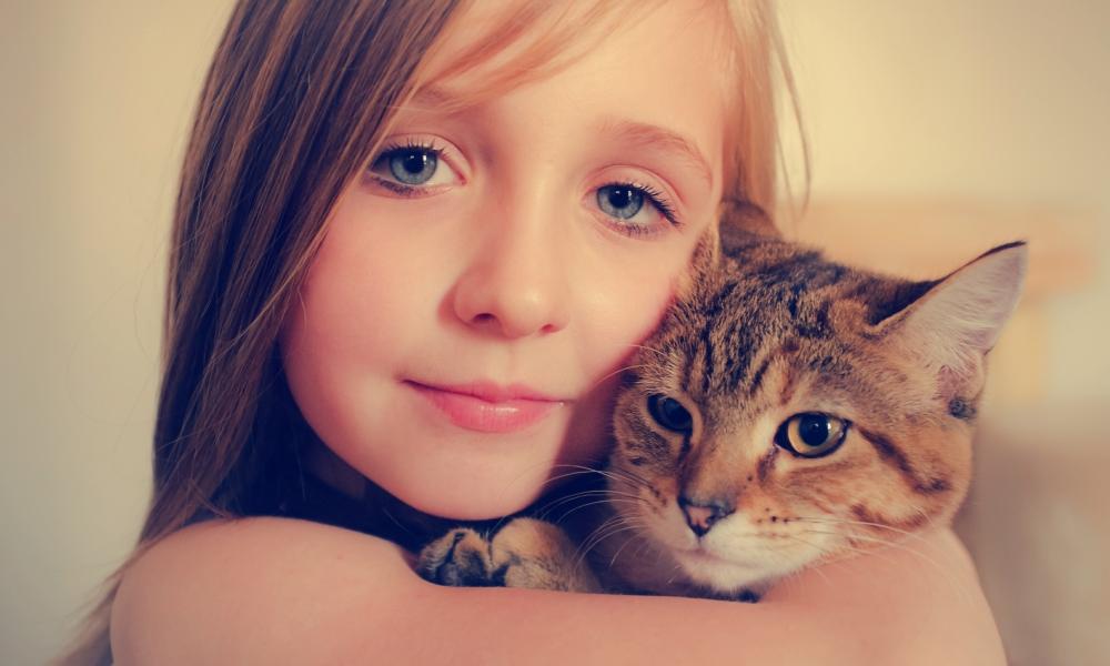 Niñas abrazando a gatos - 1000x600