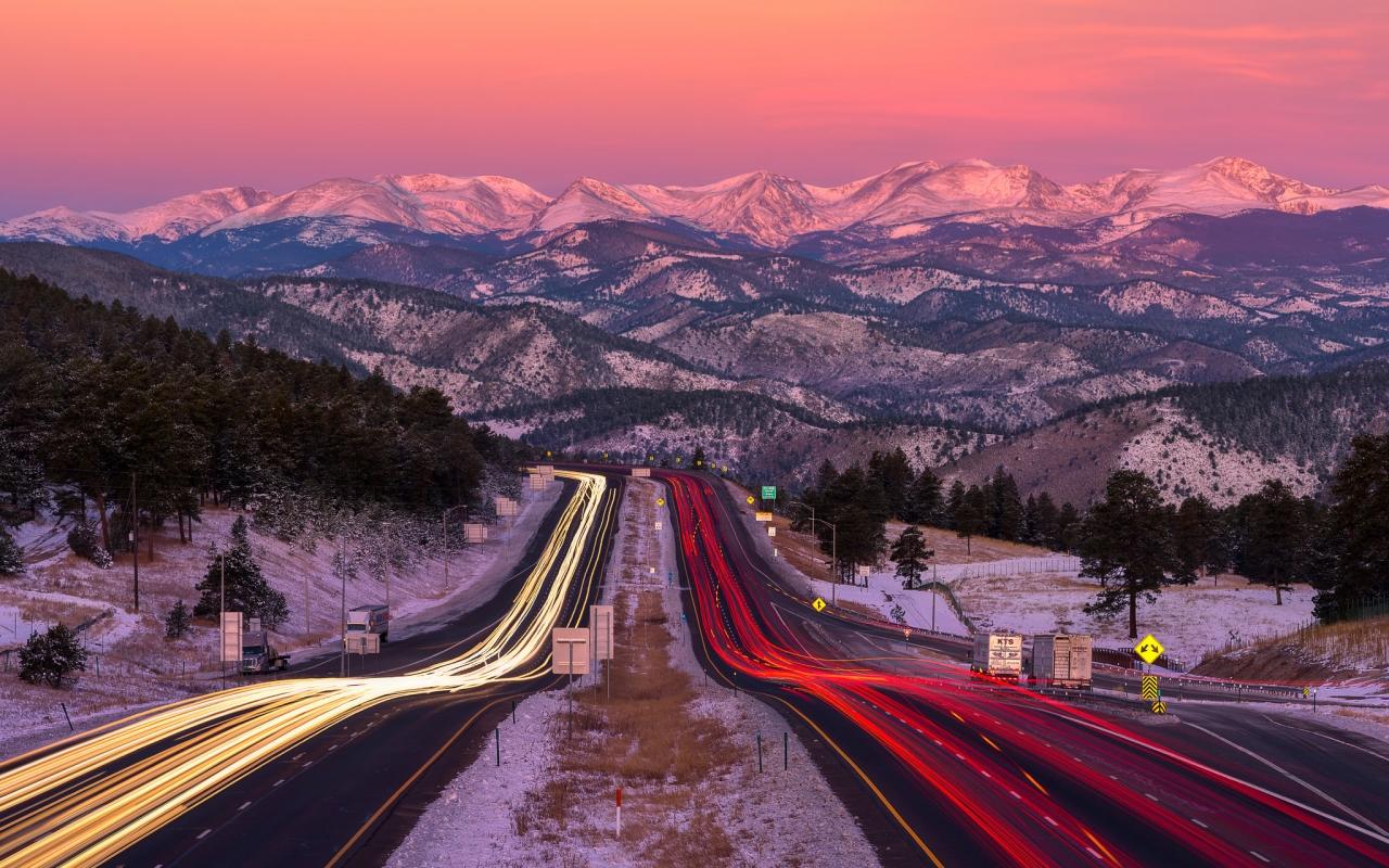 Una bella fotografía en una carretera - 1280x800