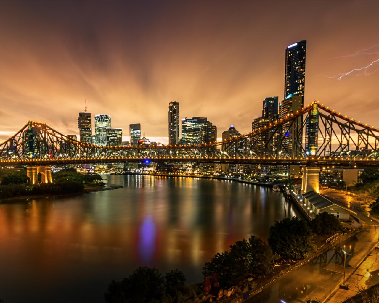 Fotografía de puentes y rayos - 1280x1024