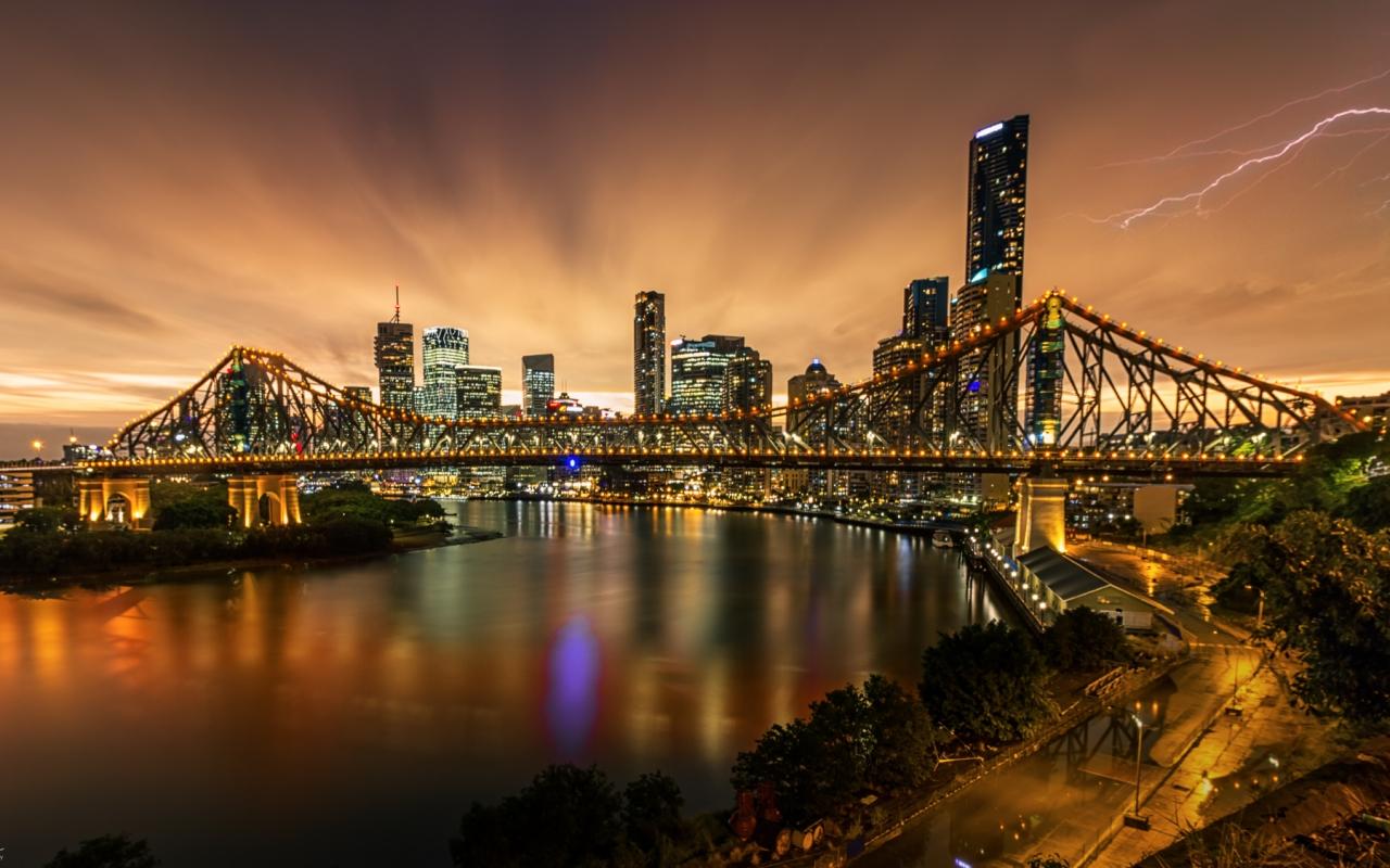 Fotografía de puentes y rayos - 1280x800