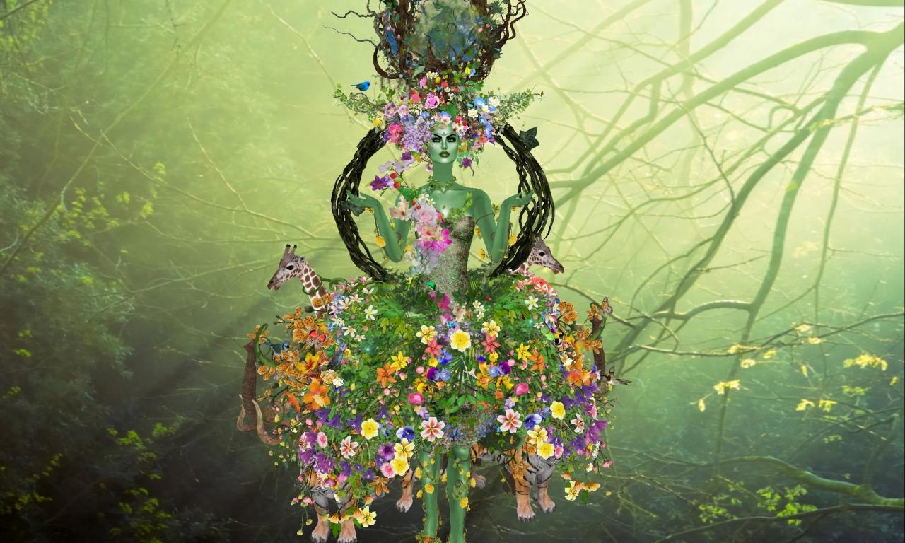 Flores y la madre abstracta - 1280x768