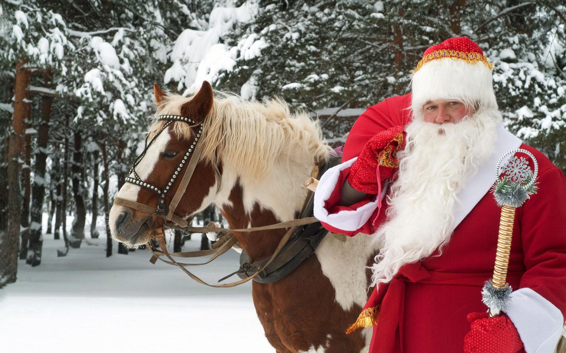 Santa Claus y un caballo - 1920x1200