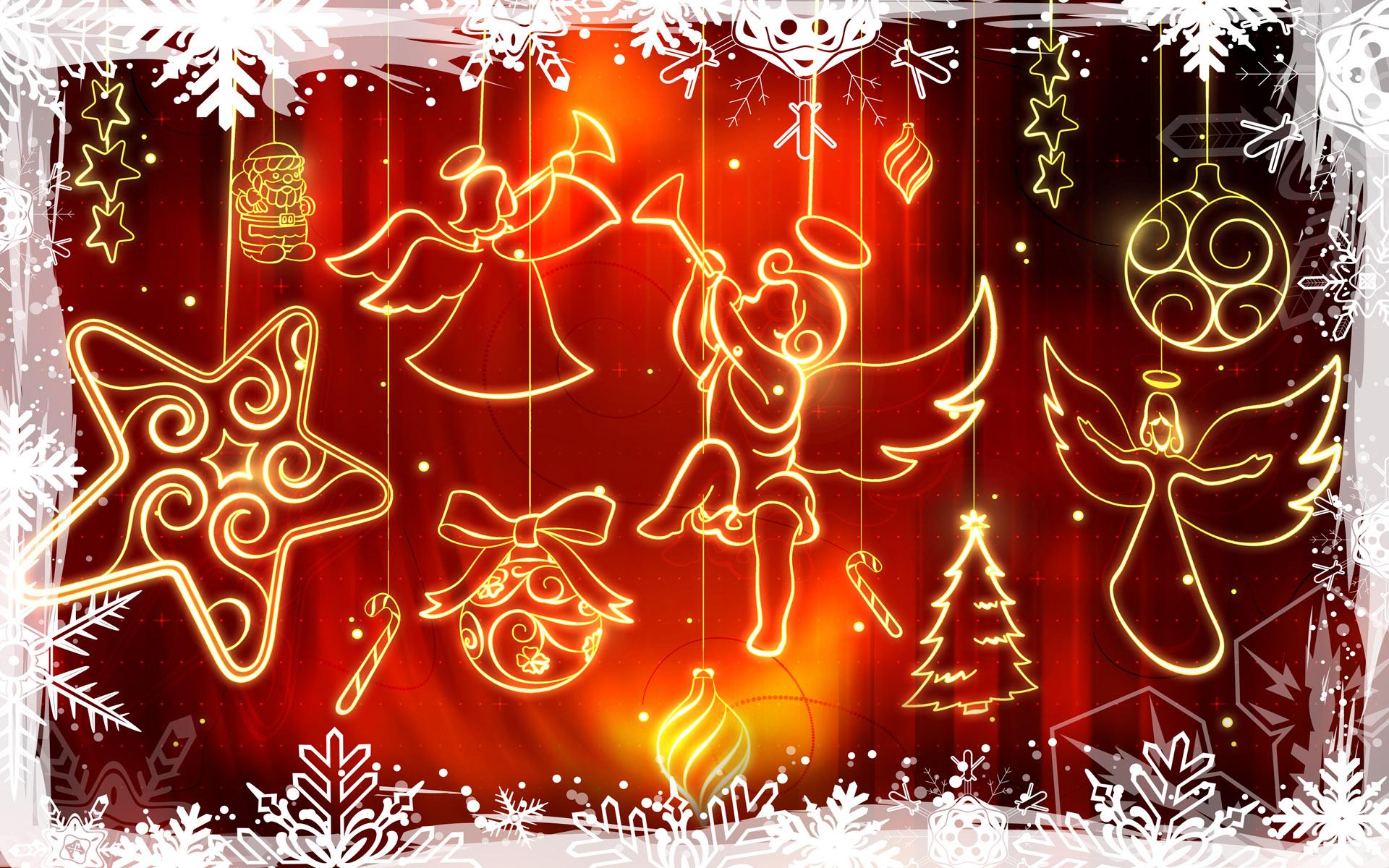 Siluetas de angelitos de navidad - 1920x1200