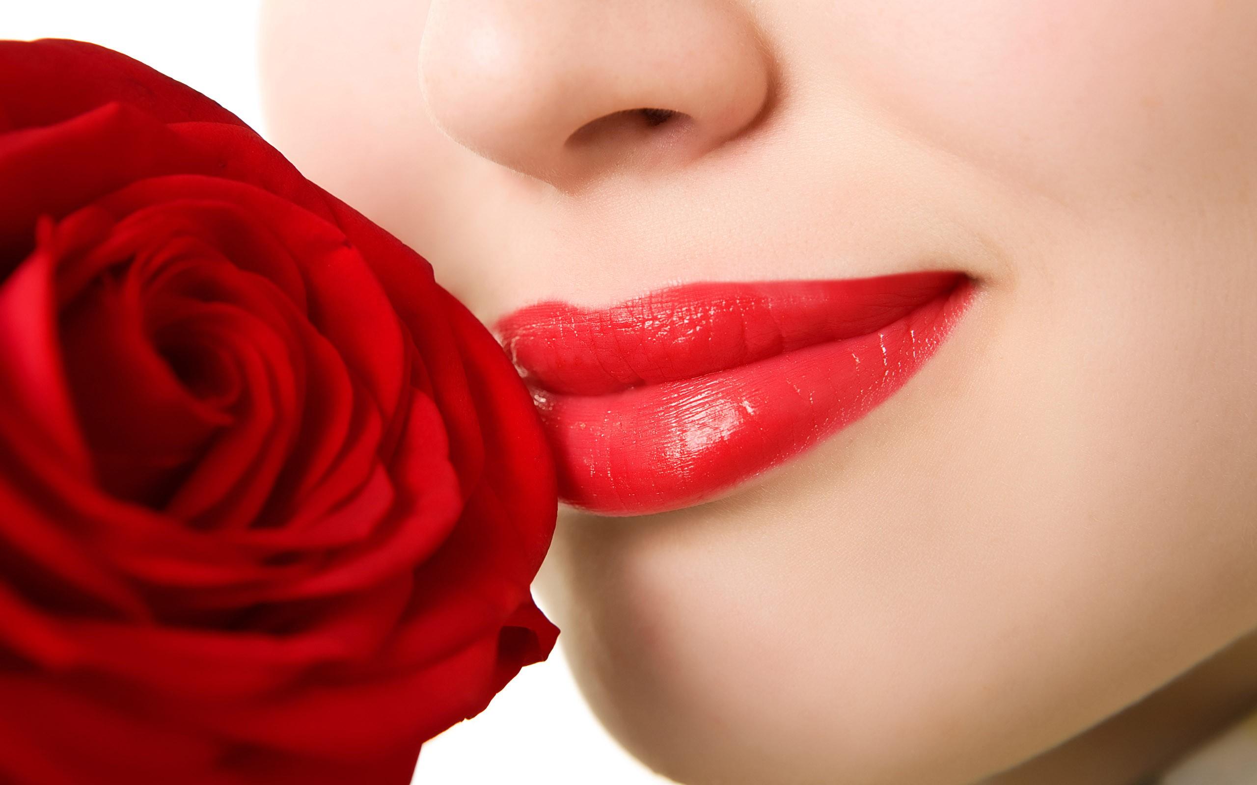Sonrisa y rosa roja - 2560x1600