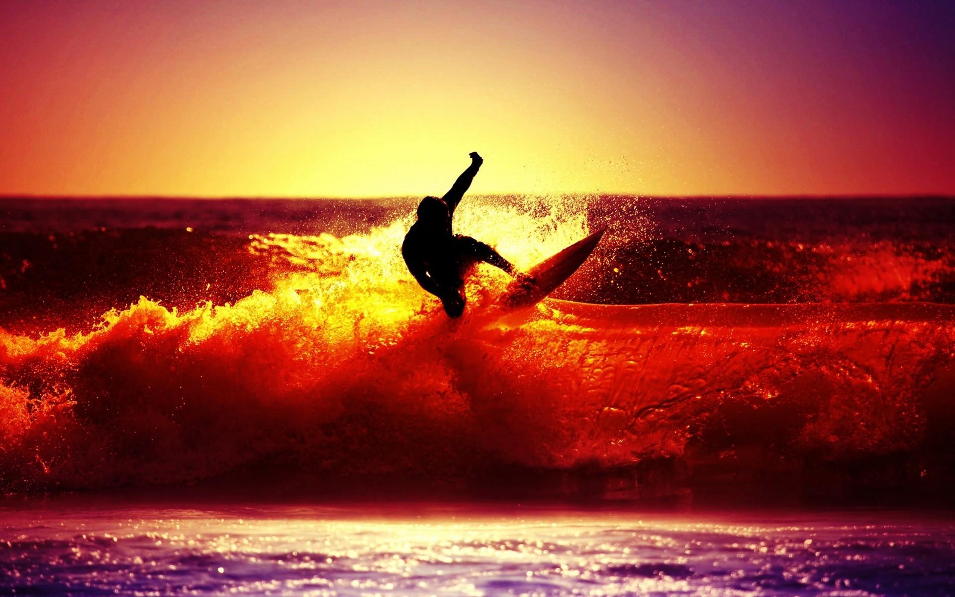 Surf al atardecer - 1920x1200