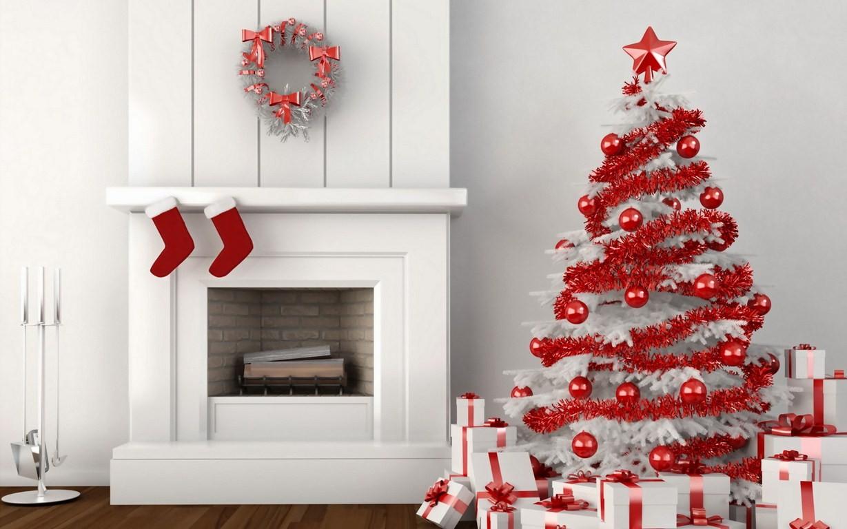 Un arbol de navidad blanco con rojo - 1229x768