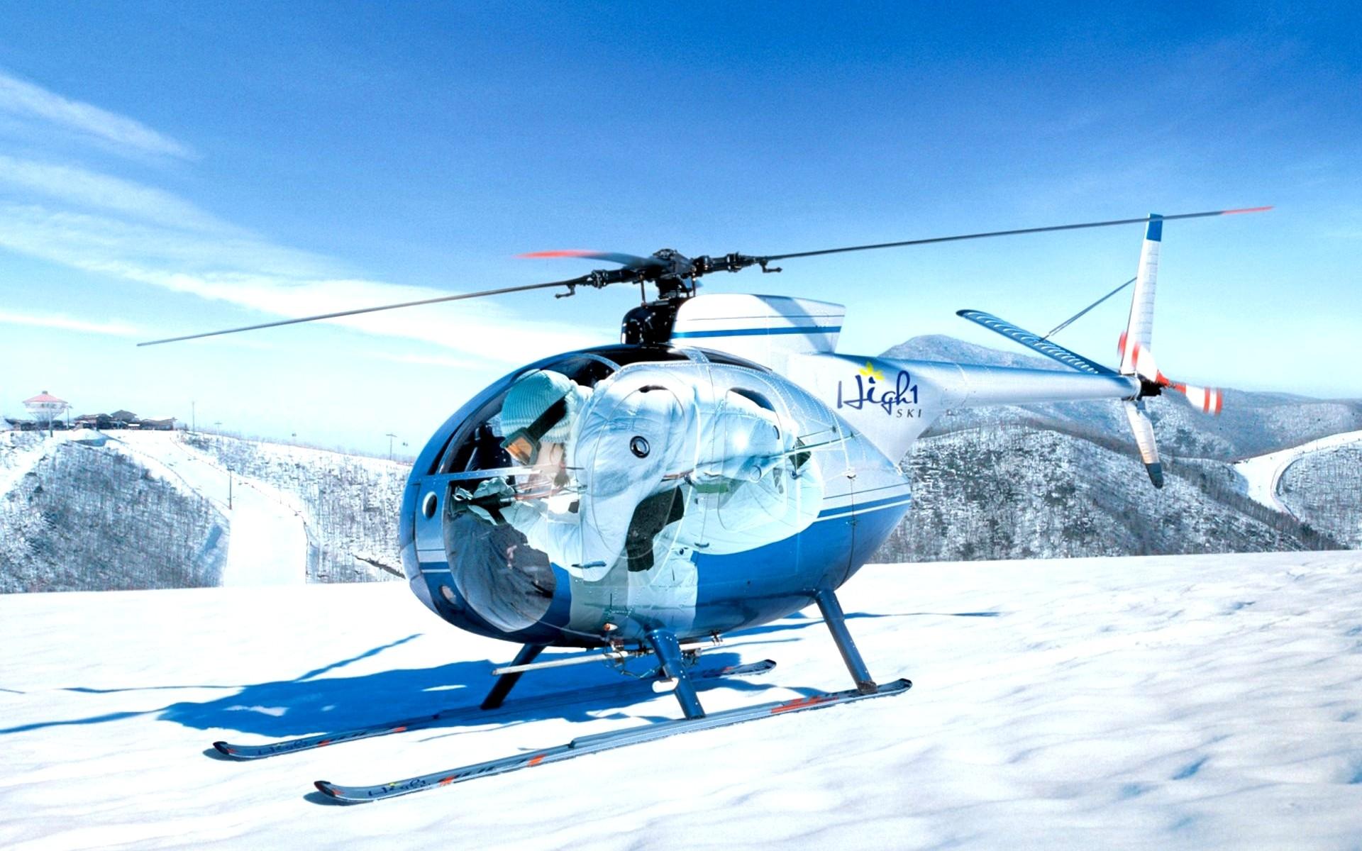 Un helicóptero en la nieve - 1920x1200
