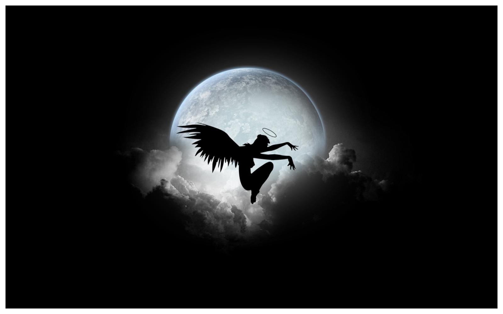 Una chica con alas y luna llena - 1599x999