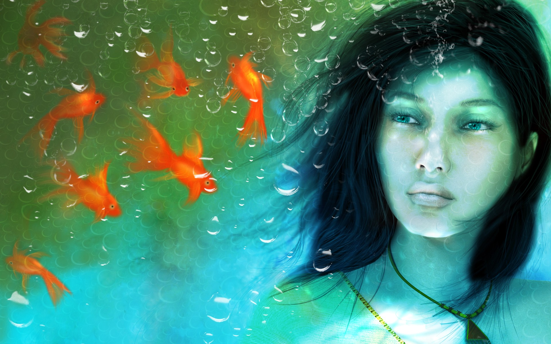 Una chica en un acuario - 1920x1200