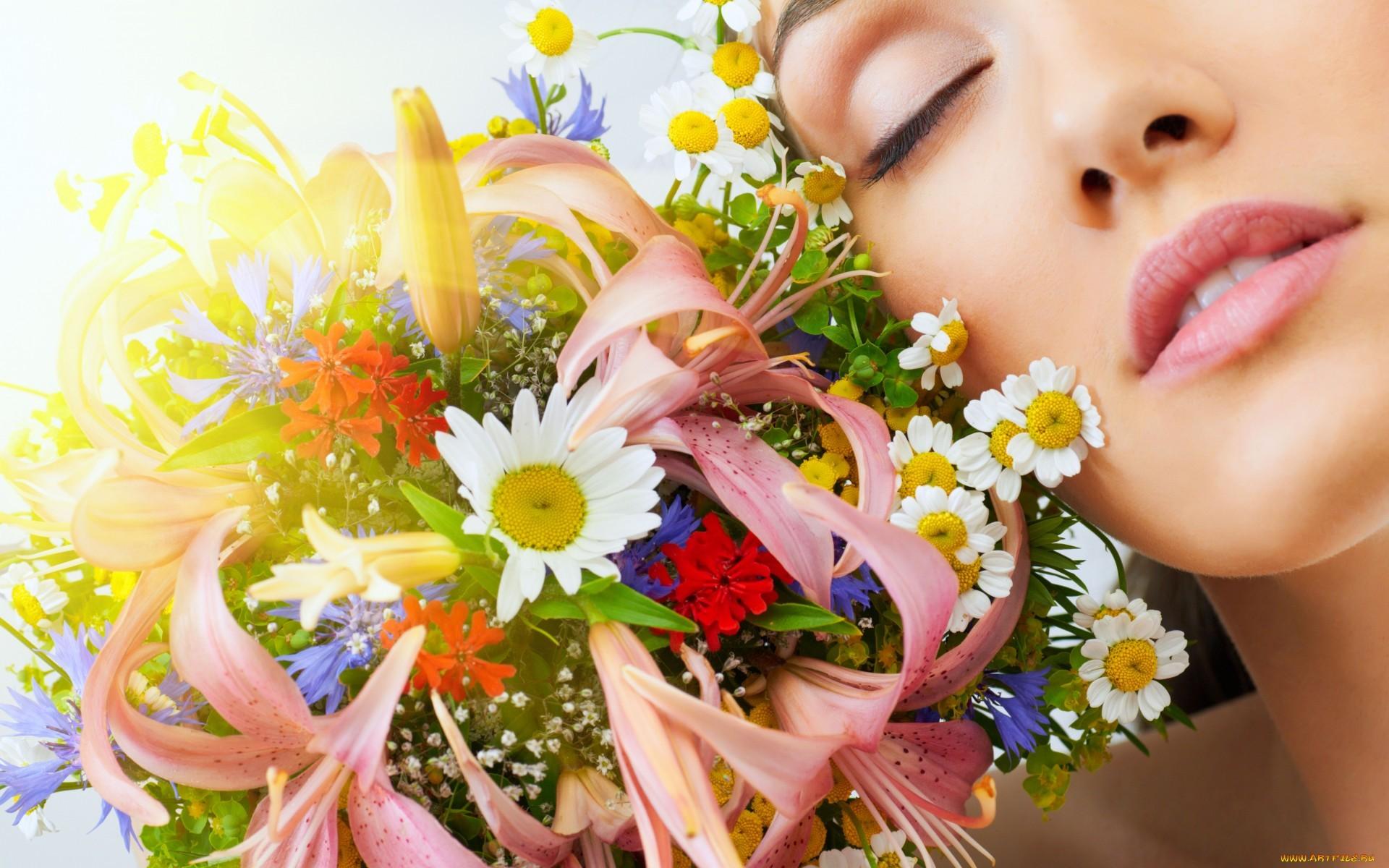 Una chica y flores - 1920x1200