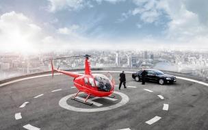 Helicóptero en rascacielos