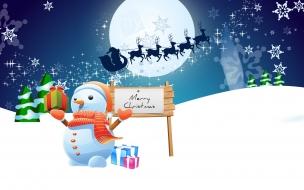 Muñeco de nieves y Santa