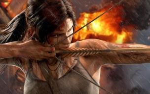 Lara Croft con arco y flecha