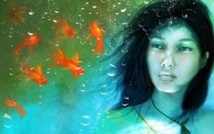Una chica en un acuario
