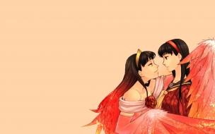 Dibujo chicas dándose beso