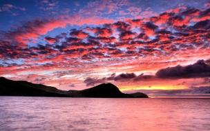 Hermoso cielo en puesta de sol