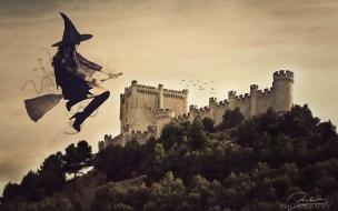 Una bruja volando