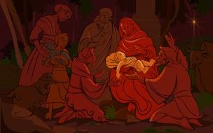 Fondo rojo con nacimiento del niño jesus