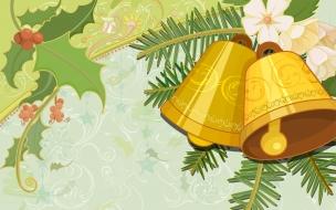 Fondo verde con campanas de navidad