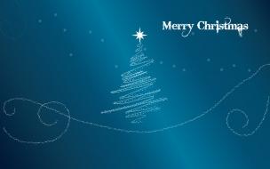 Fondo azul acero con arbol de navidad