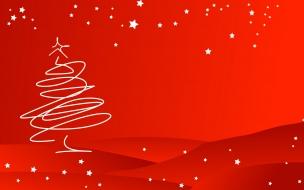 Fondo rojo con arbol de navidad