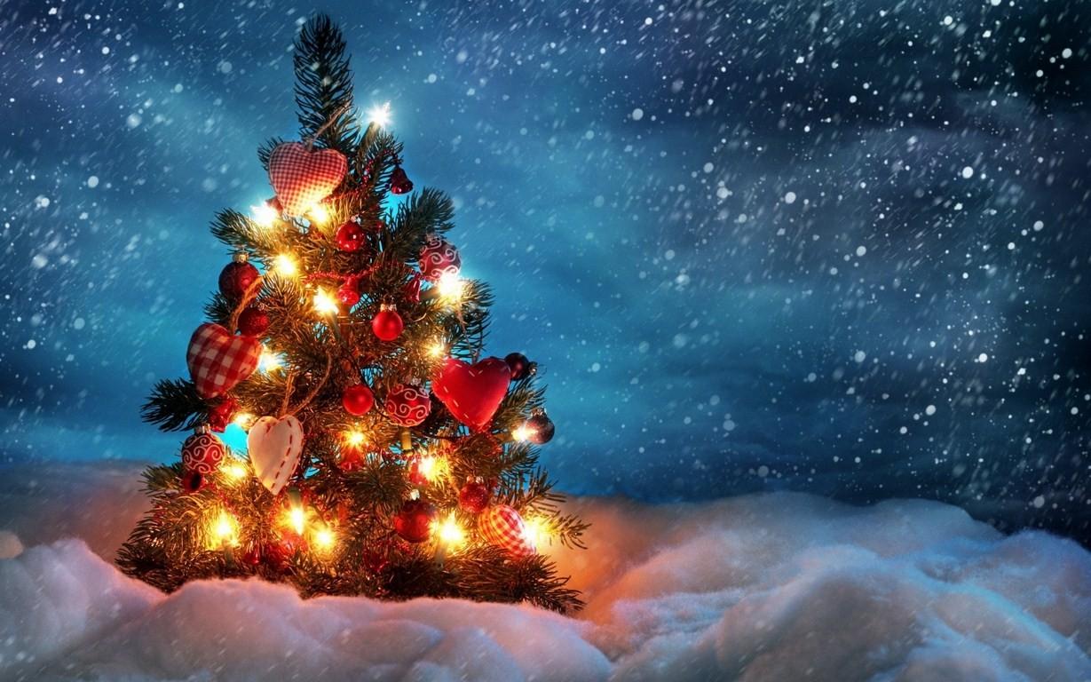 Arbol de navidad en la nieve - 1229x768