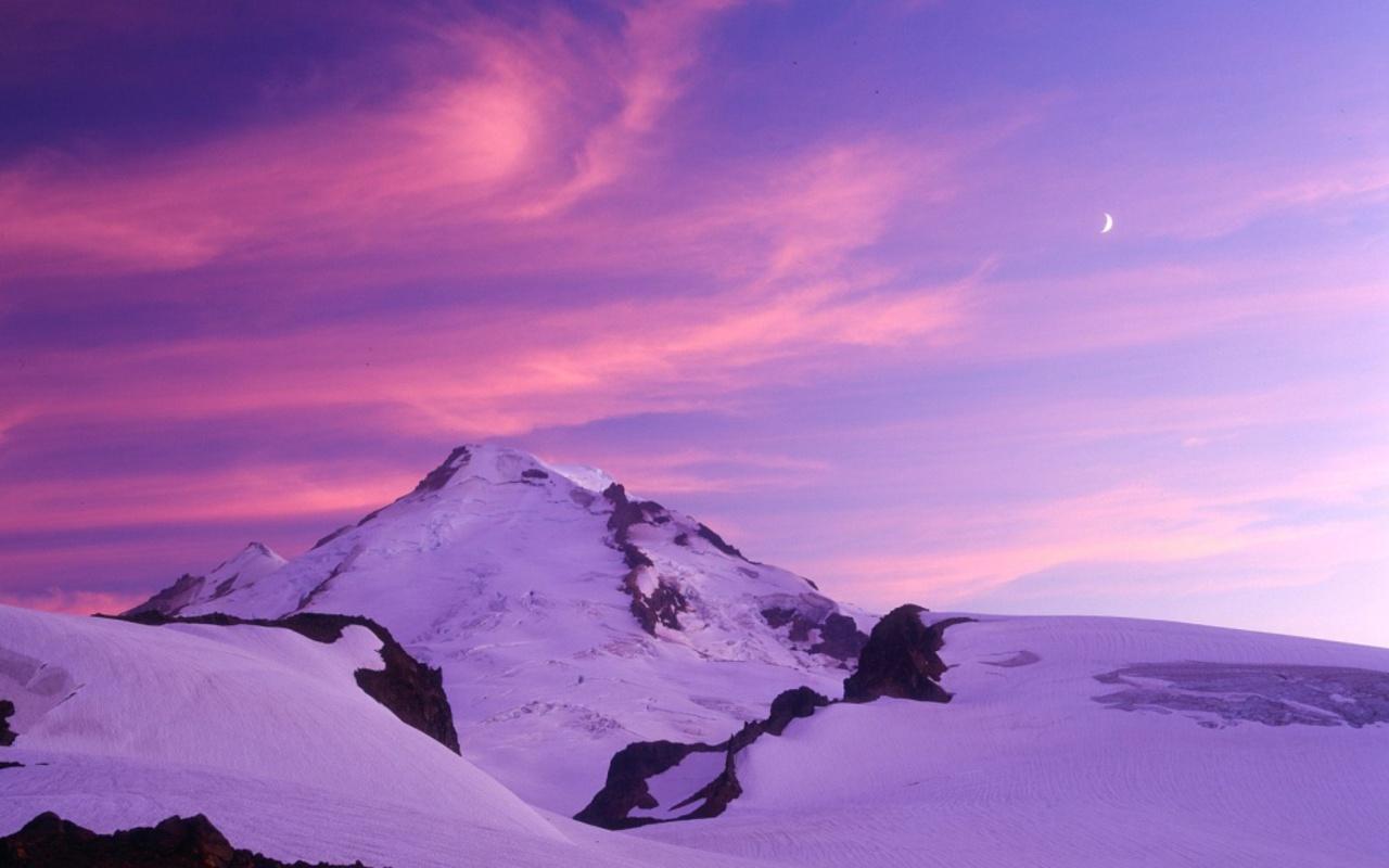 Atardecer morado en la nieve - 1280x800