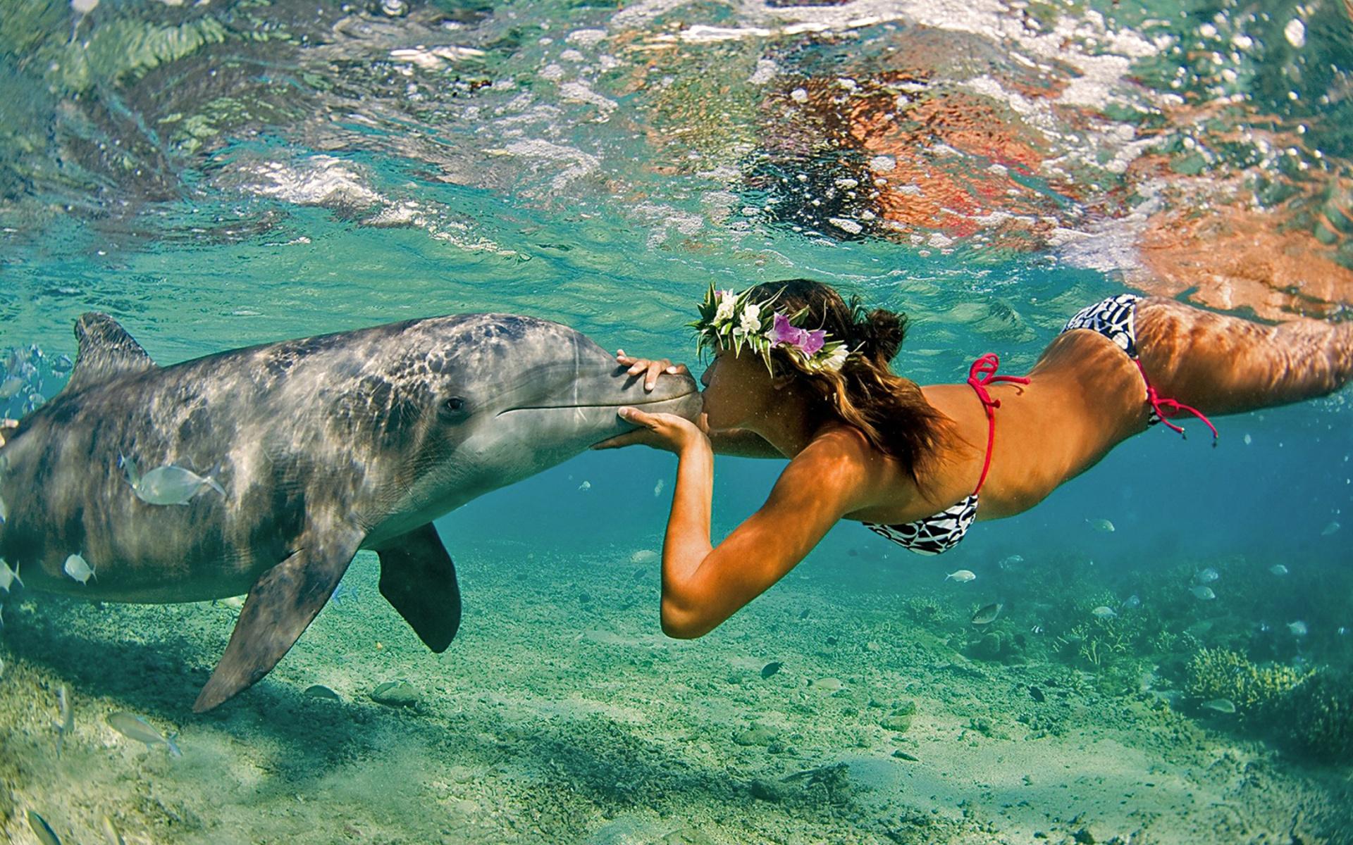 Beso de chica y delfin - 1920x1200