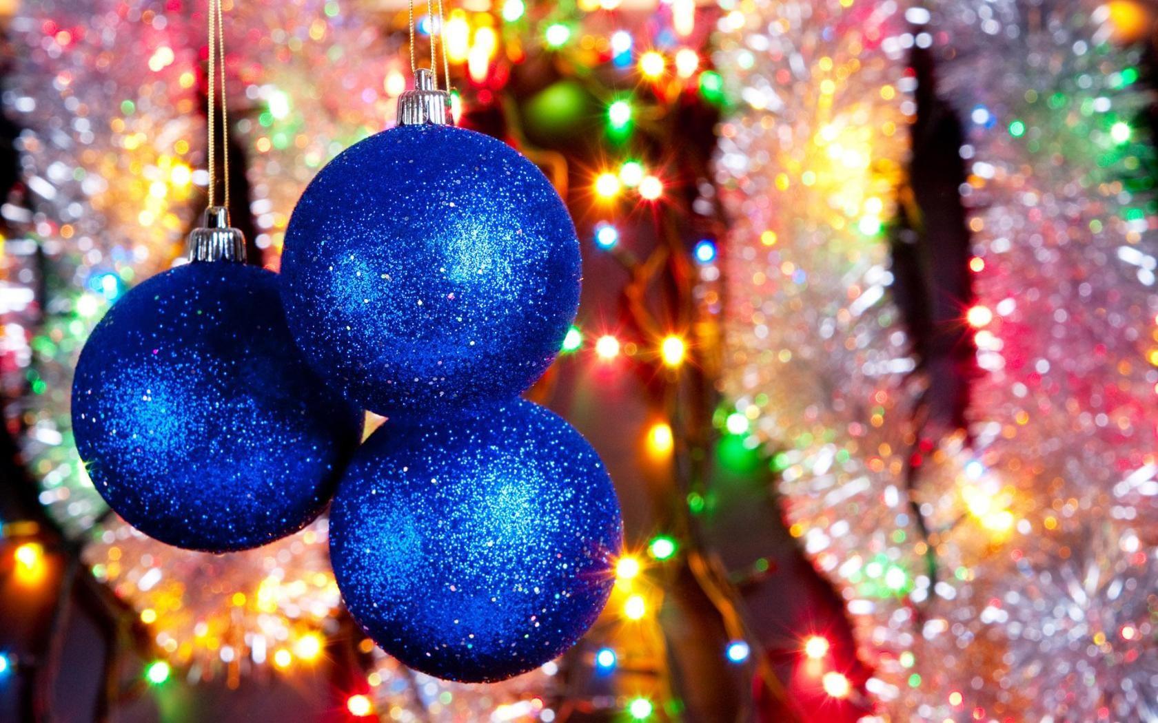 Bolas azules para arbol de navidad - 1680x1050