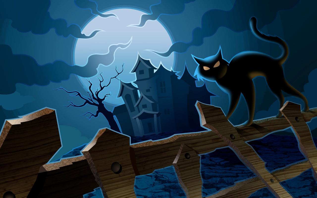 Casa abandonada en halloween - 1280x800