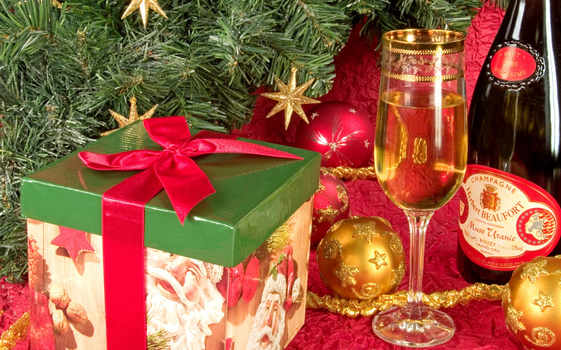 Champagne por navidad - 1920x1200