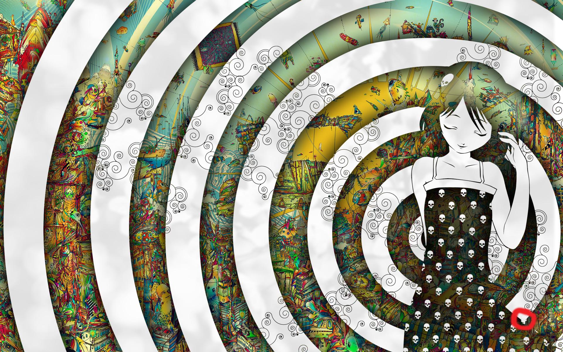 Circulos concentricos y chica - 1920x1200