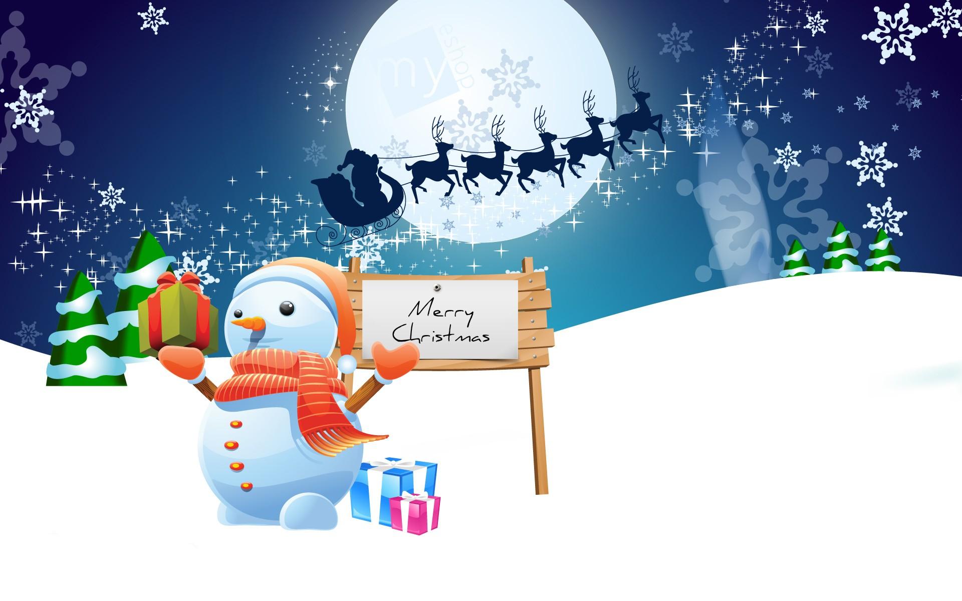 Dibujo de hombre de las nieves en navidad - 1920x1200