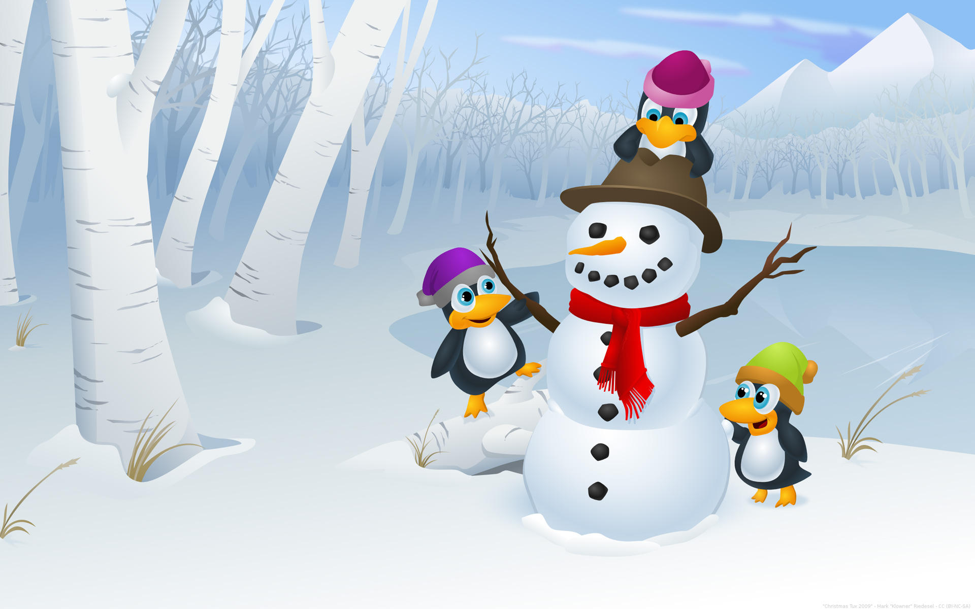 Dibujo de muñeco de nieve y pinguinos - 1920x1200
