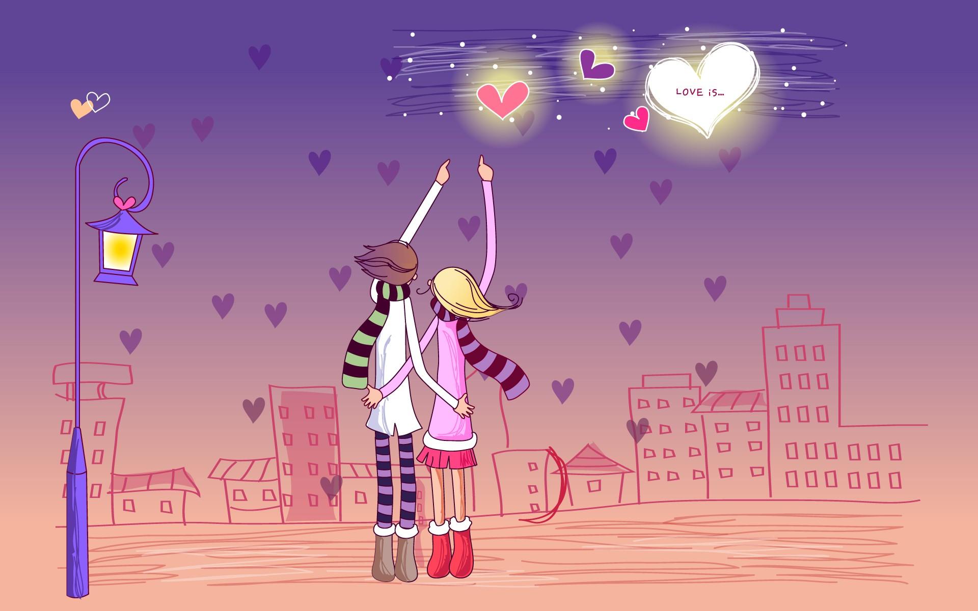 Dibujo de pareja de enamorados - 1920x1200