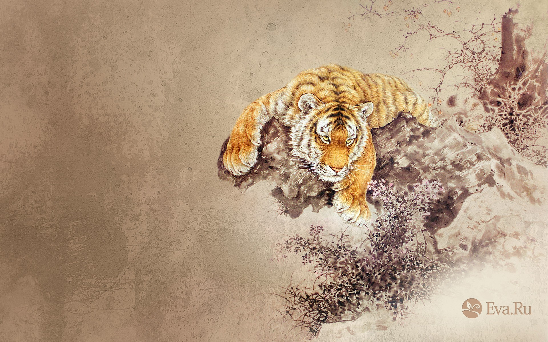 Dibujo de un tigre - 1920x1200