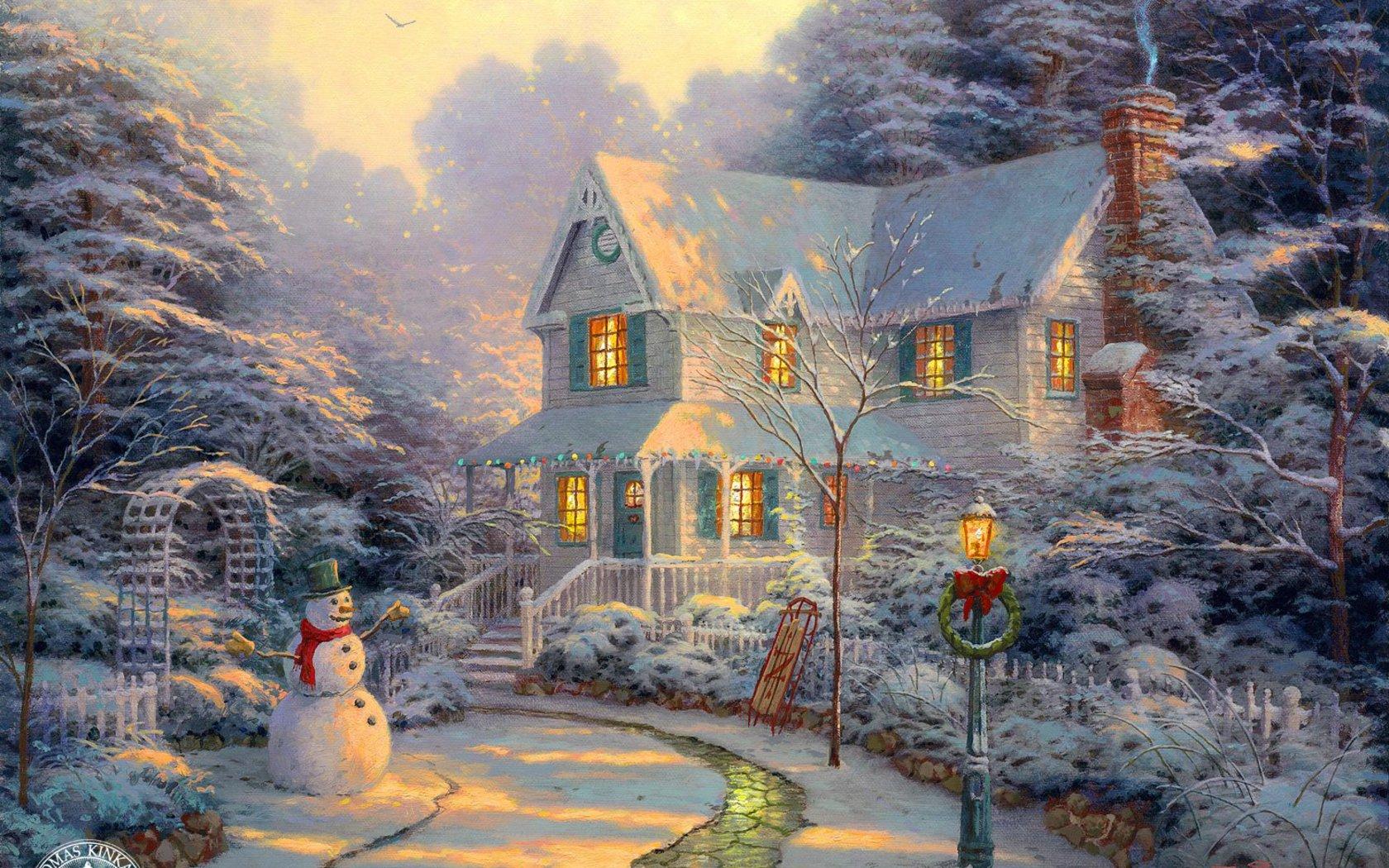 Dibujo de una casa en medio de la nieve - 1680x1050