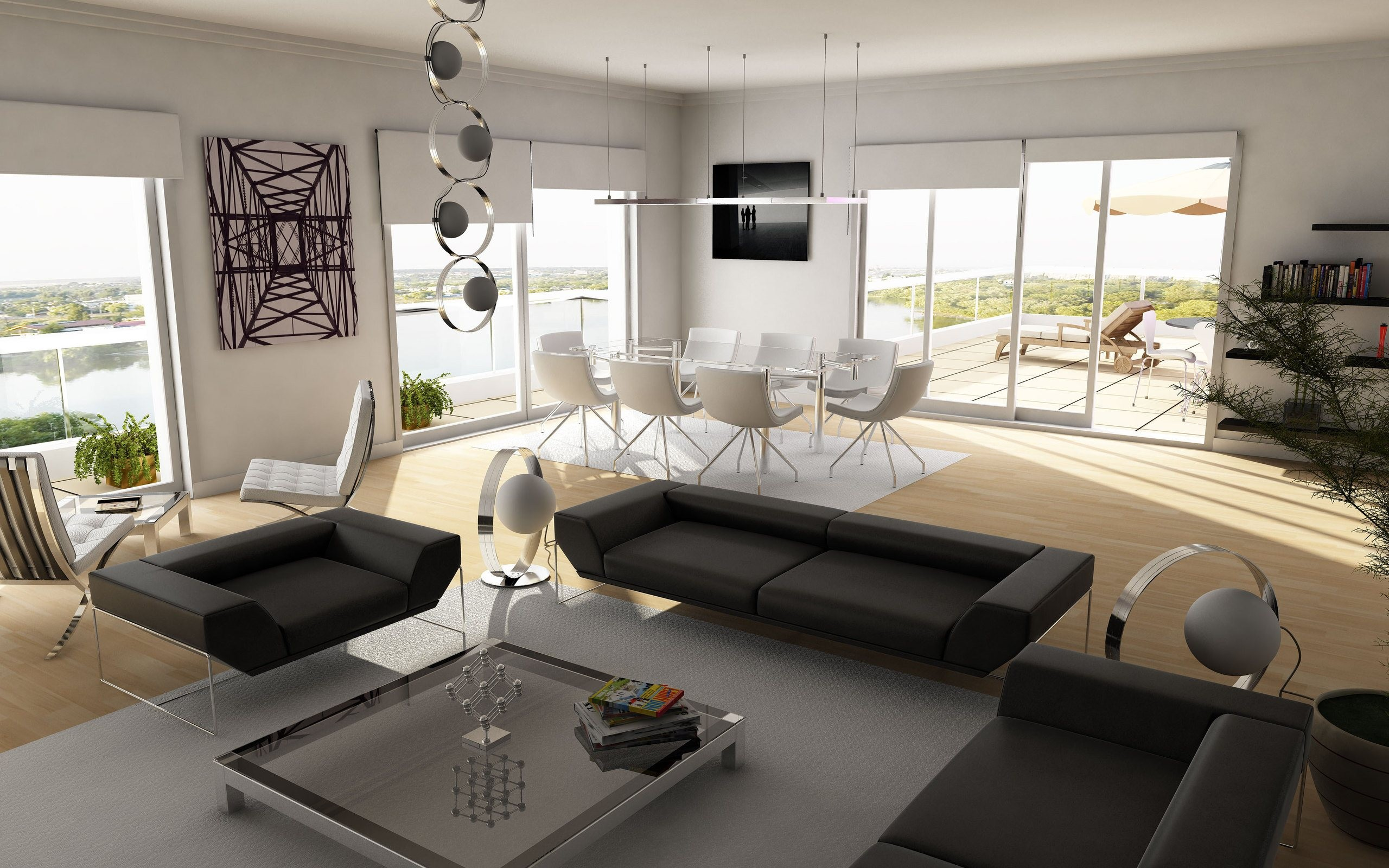 Diseño interior de una casa de campo - 2560x1600
