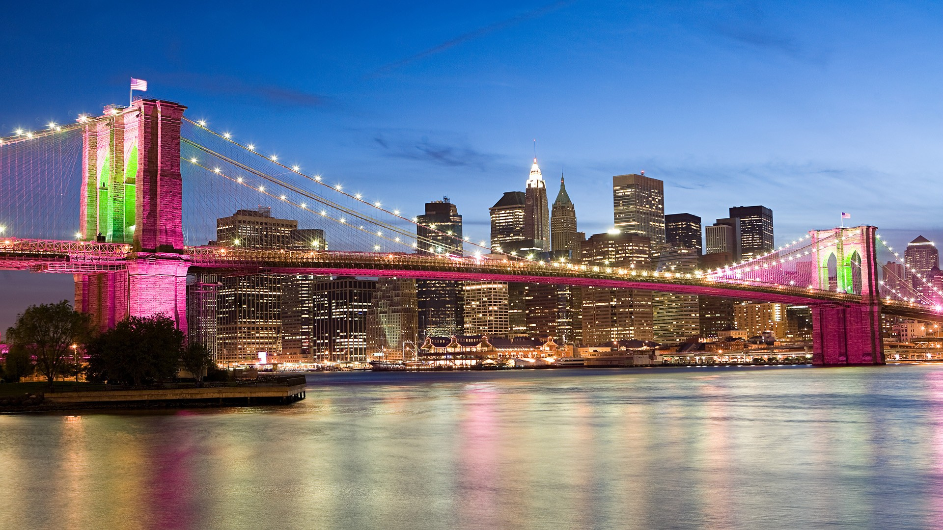 El puente rosado de Brooklyn Bridge - 1920x1080