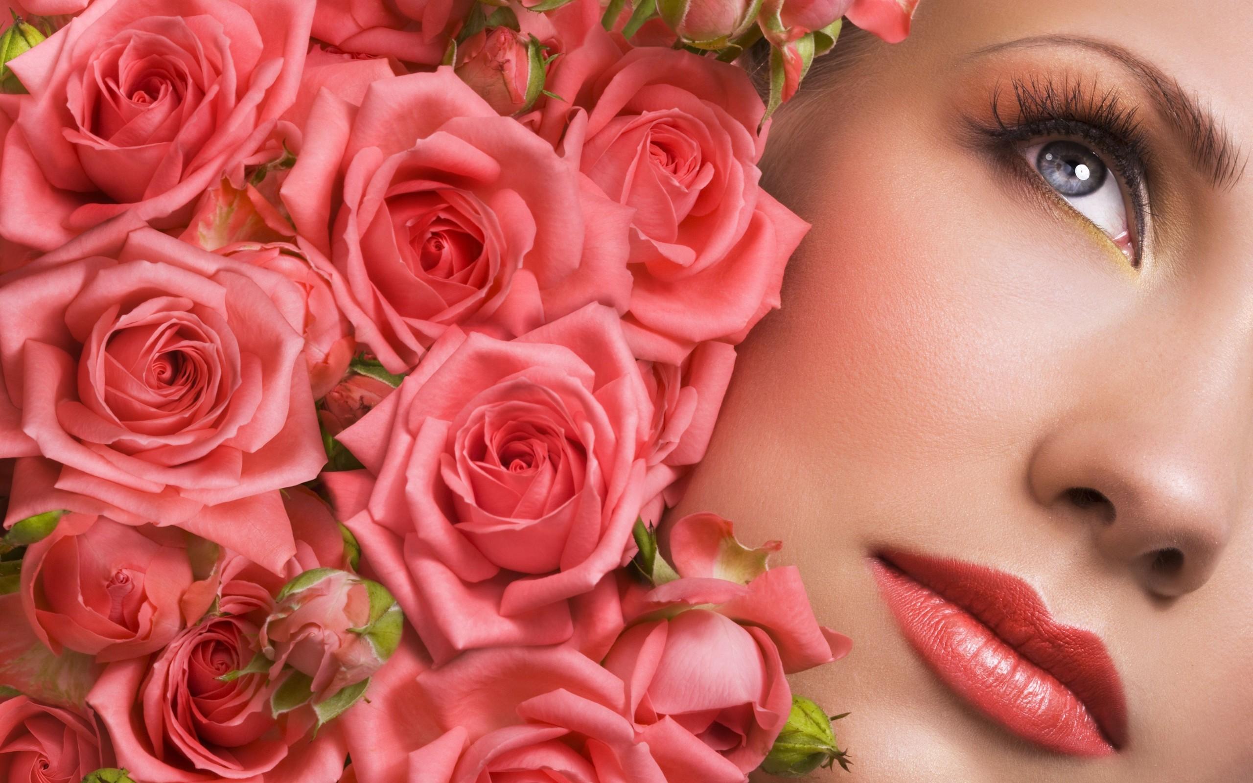 Flores y un rostro - 2560x1600