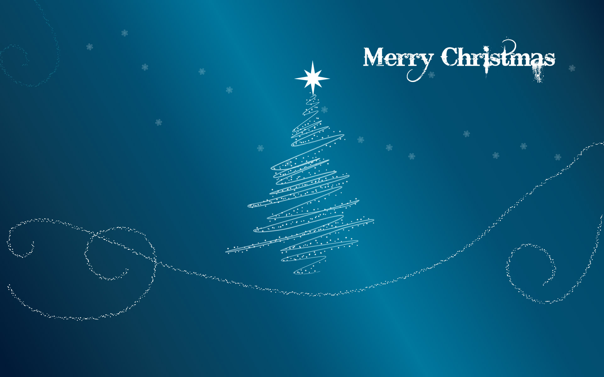 Fondo azul acero con arbol de navidad - 1920x1200