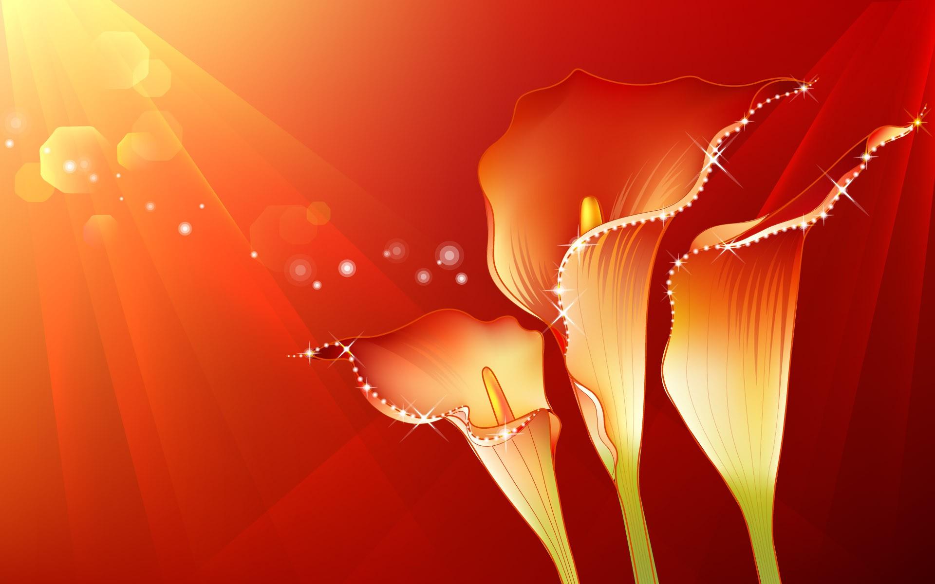 Fondo naranja y flores - 1920x1200