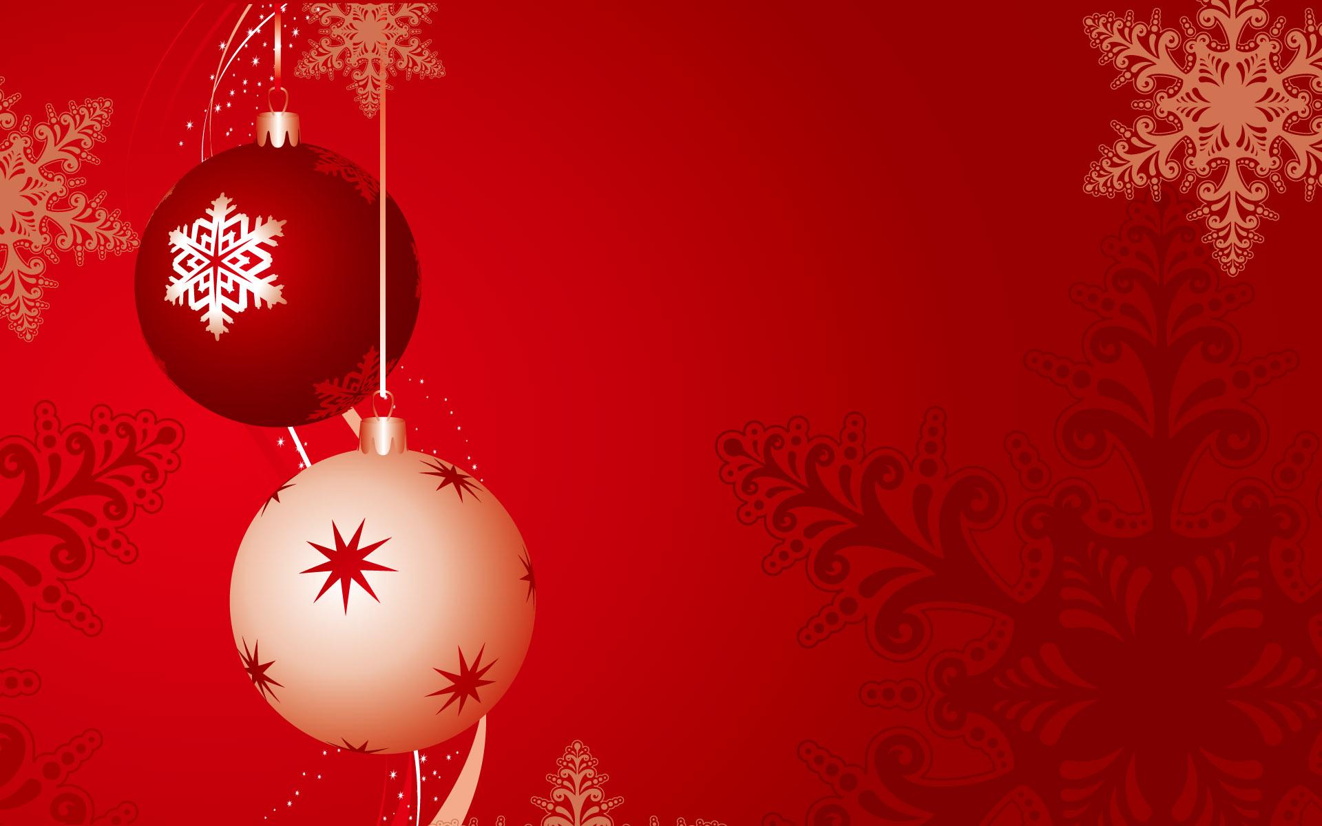 Fondo rojo con bolas de navidad - 1920x1200
