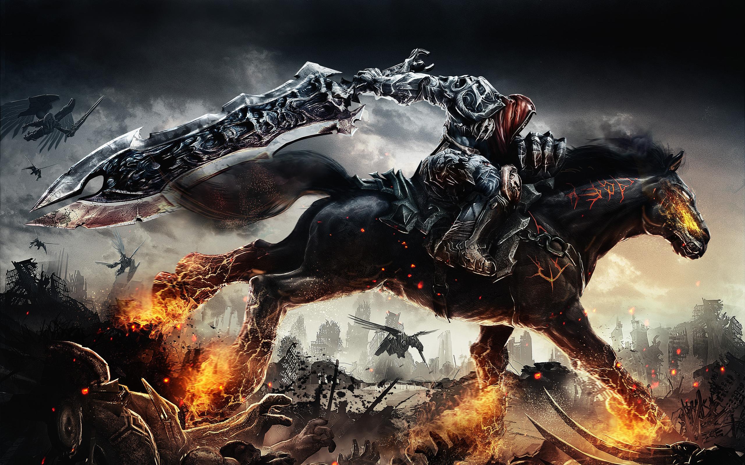 Guerrero montando un caballo - 2560x1600