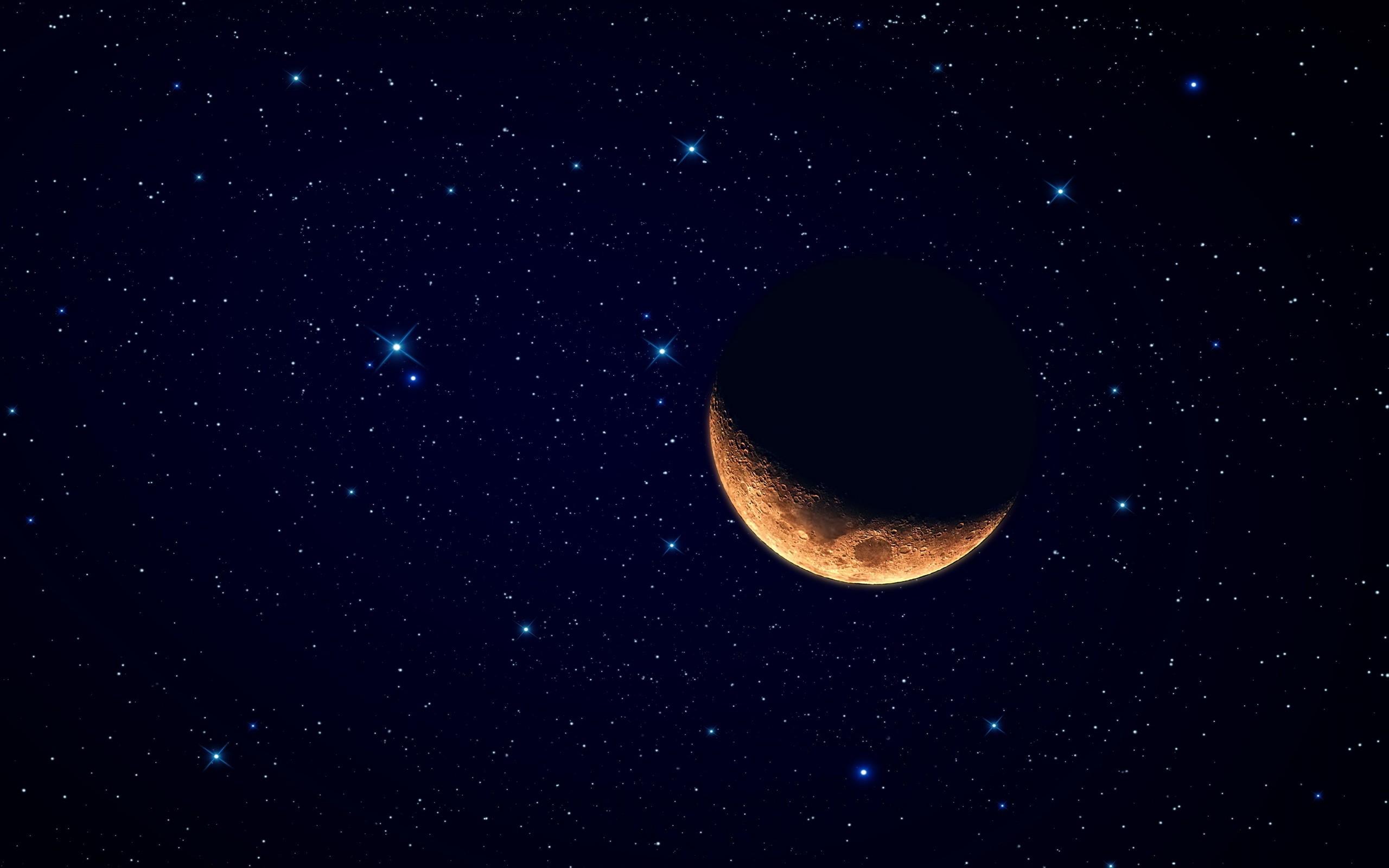 Luna y el cielo estrellado - 2560x1600