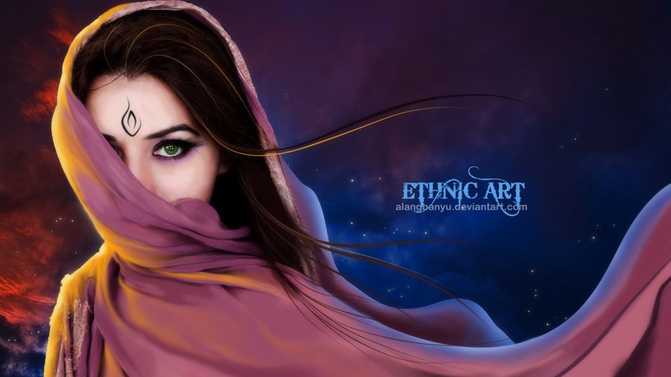 Mujer árabe hermosa - 1366x768