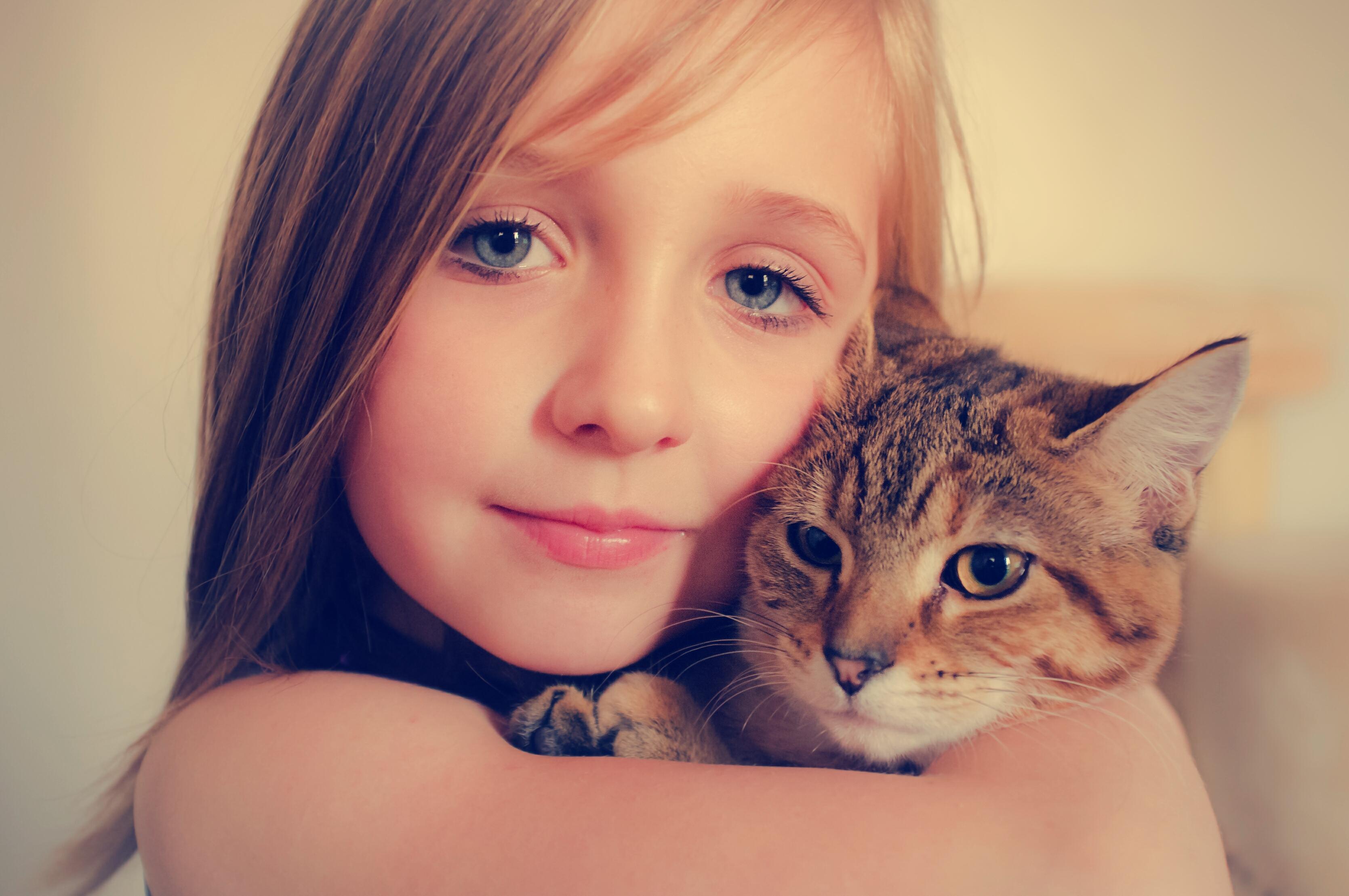 Niñas abrazando a gatos - 3339x2218